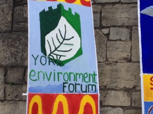 The community banner for York Environment Forum, made jointly with BEAST from Bootham School, as part of the Dress to Impress initiative for the Tour de France